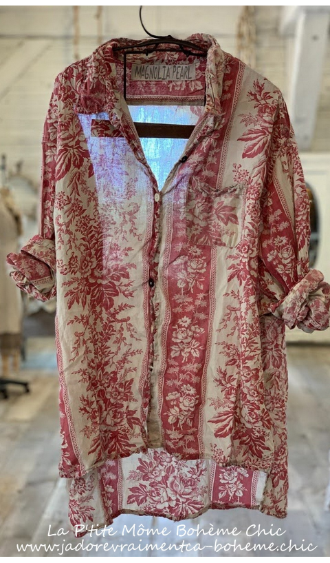 Adison Hand Block Print  Workshirt In Shangrila