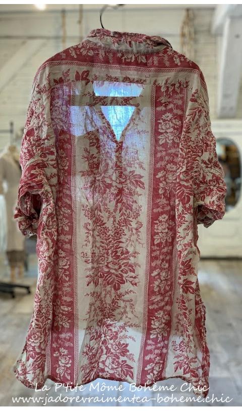 Adison Hand Block Print  Workshirt In Shangrila