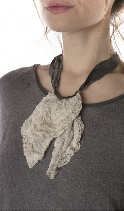 Ramie Fairen Jabot In Charcoal, Lace