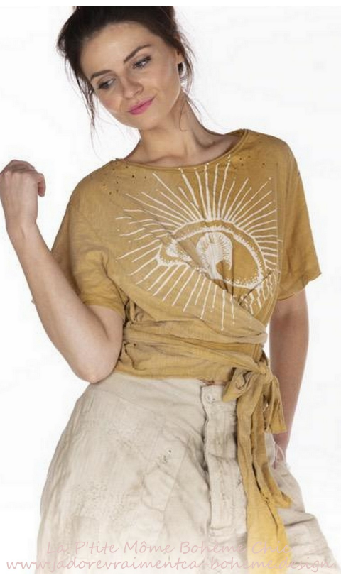 Tawney EYE OF Providence  wrap T In Marigold + distressing
