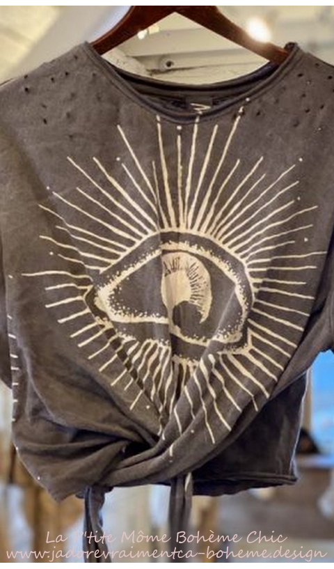 Tawney EYE OF Providence  wrap T In Moonlight + distressing