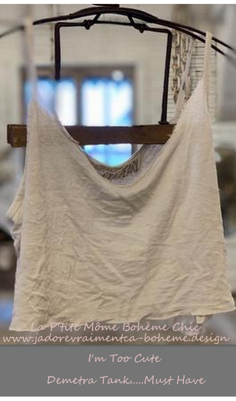 Cropped Demetra Tank In Moonlight with Distressing and Raw Edges