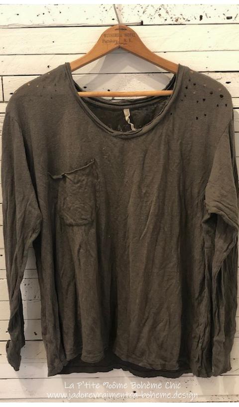 Sofiane T-Shirt En Shading Manches Longues Avec Poche Coton-Lin