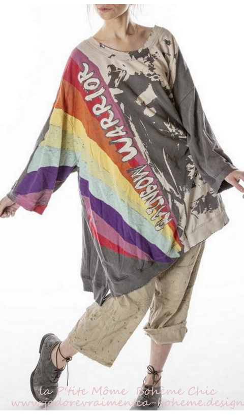 Rainbow Warrior Francis Oversize Pull-Over In Ozzy Hand BlockPrinted