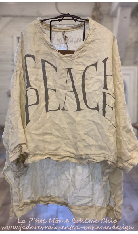 Teach Peace Hi Lo Francis Pullover with Distressing and Fading