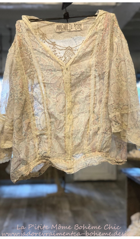 Maelee Blouse In Rani With Lace & Eyelet