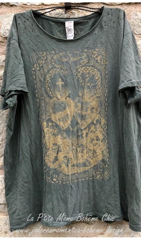 Alliance Of The Hearts T-Shirt En Peace Imprimé Blockprint
