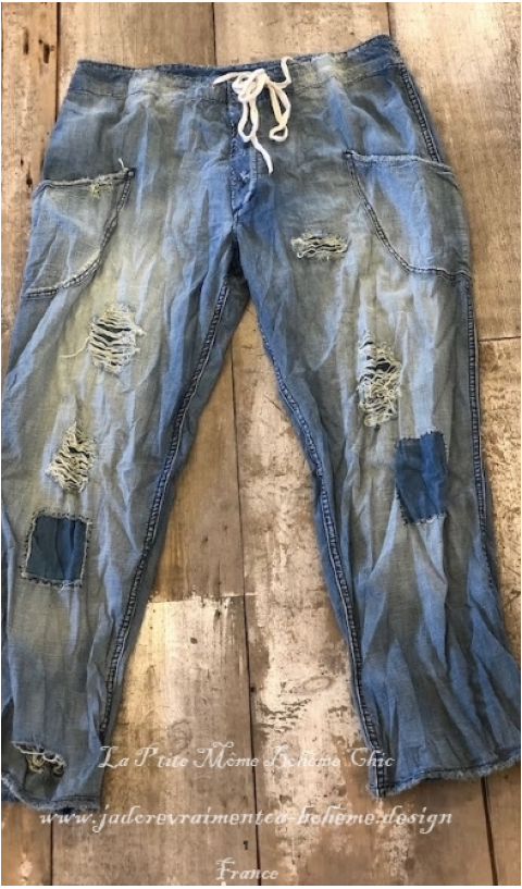 OKeefe Denims Jean in Washed Indigo with Hand Age, Distressing and Mending, Button Fly and Drawstring Waist