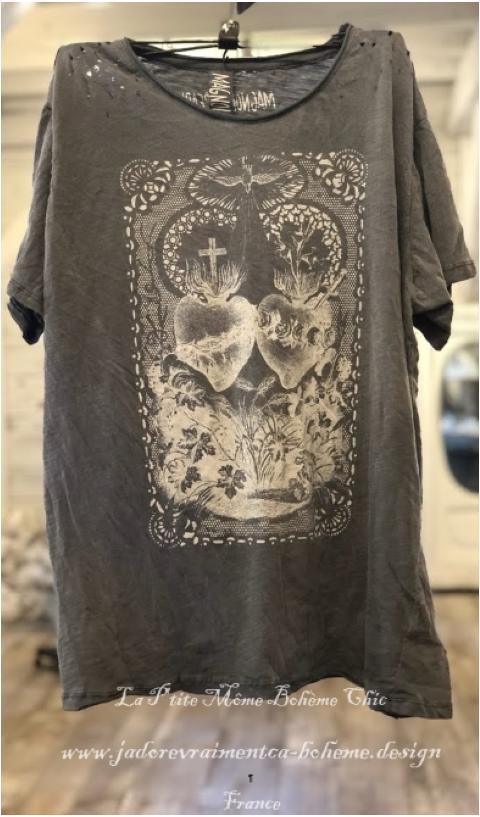 Alliance Of The Hearts T-Shirt En Ozzy Imprimé Blockprint