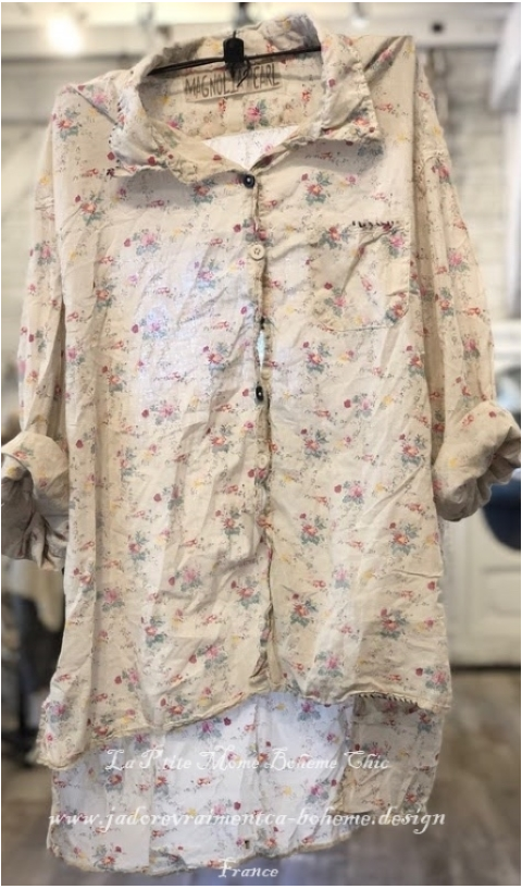 Adison Shirt in pocket of posies Hand Block Print  Workshirt