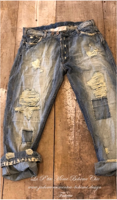 Denim Roe Jeans with Mending, Patching and Distressing