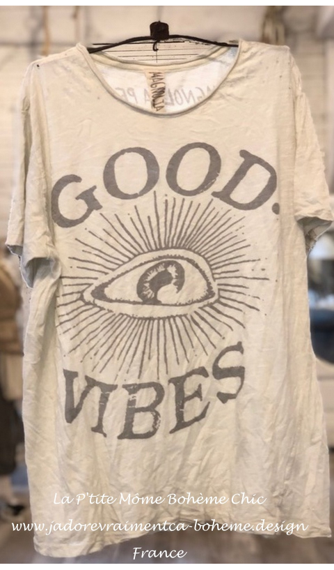 Good-Vibes T-Shirt En Moonlight Imprimé Blockprint
