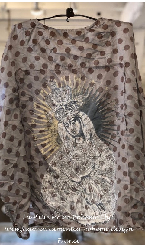 Alva layering blouse In Tidal + hand printed QUEEN of Heaven back