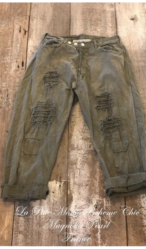 Miner Denim Jeans In Big Top Red With Hand Aging and Patching
