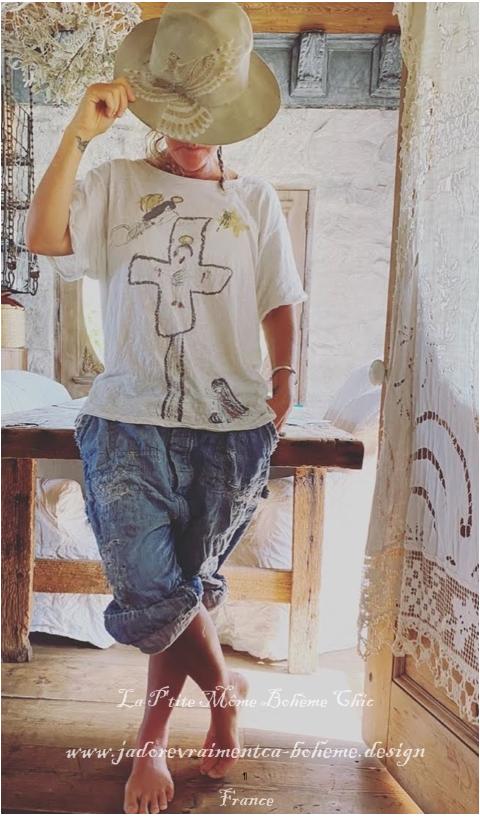 Lumen Christi T-Shirt En Moonlight Imprimé Blockprint