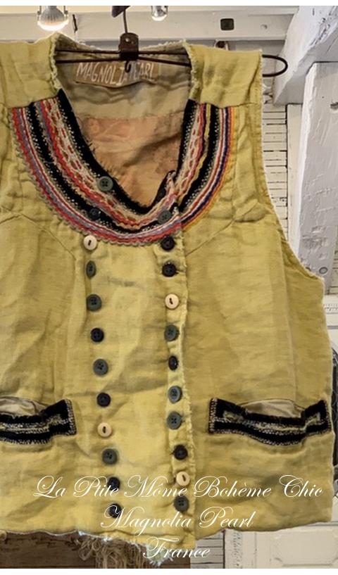 Lennon Vest marigold, With Velvet Trim And Ric Rac At Neckline