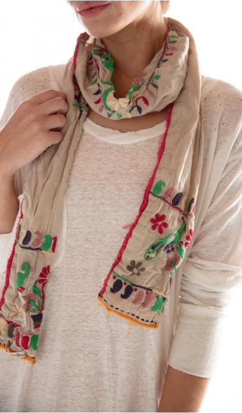 Coyoacan Scarf Embroided with Distressing