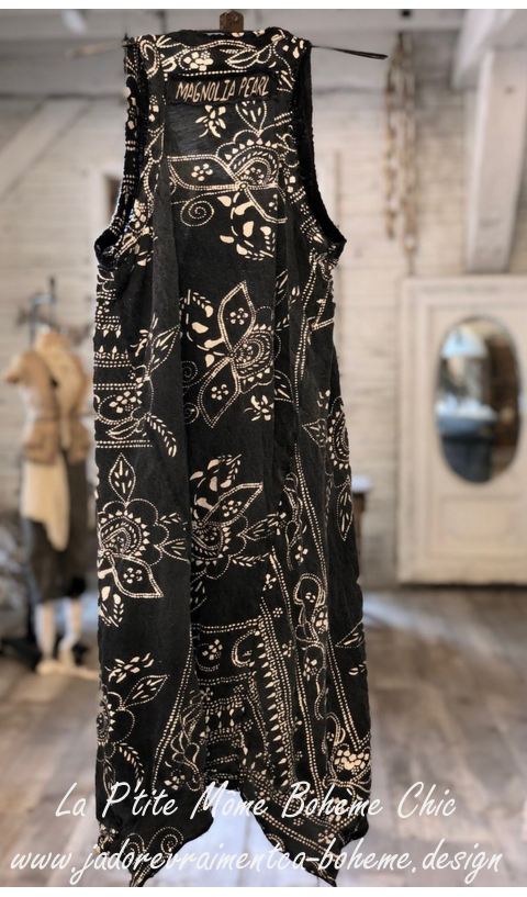 Bali Paz A-line Tank in Coal With Hand Blockprint