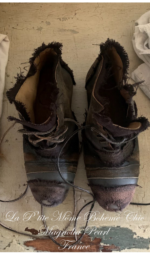 Linen and Leather Willard Tattered Shoe with Artful Hand Distressing