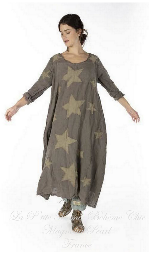 Cassiel Star Applique Dress with Raw Edges In Clay