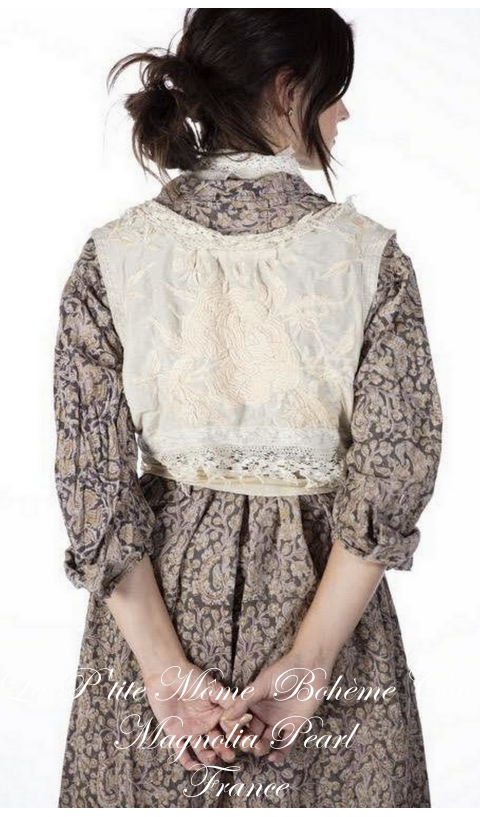 Hand Embroidered Faustine French Wrap Tank with Lace & Silk Ties