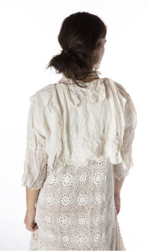 Grete Blouse Embroidered Linen In Moonlight