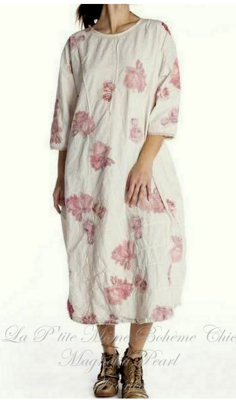 Cisca Applique Floral Dress + Pleating In Natural
