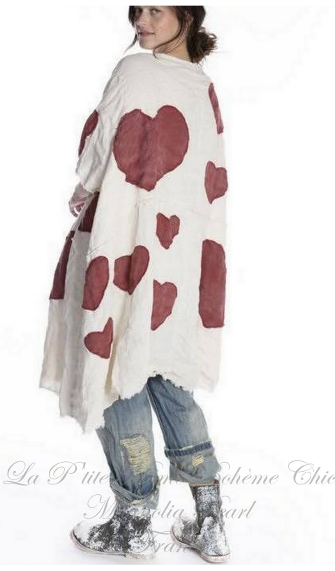 Heart Applique Kimi Coat In Love with Raw Edges