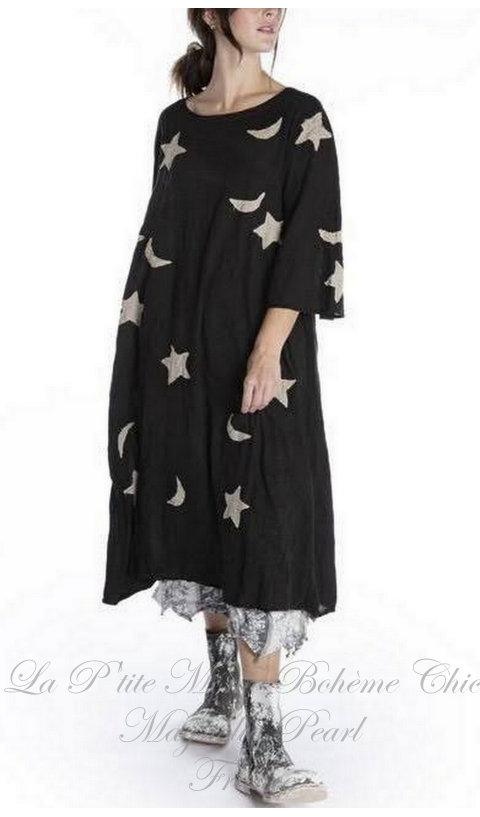 Star and Moon Applique Merlina Dress In Midnight
