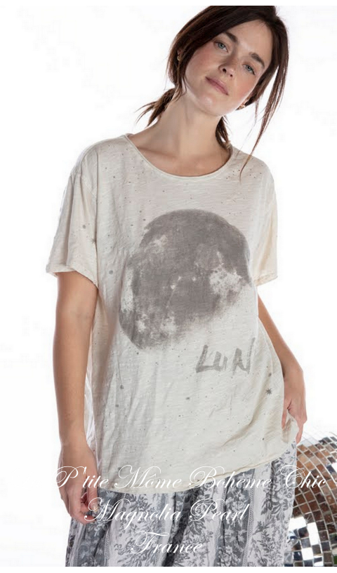 Luna Tee in Moonlight In Boyfriend Cut  Mending with Hand Distressing, and Patching