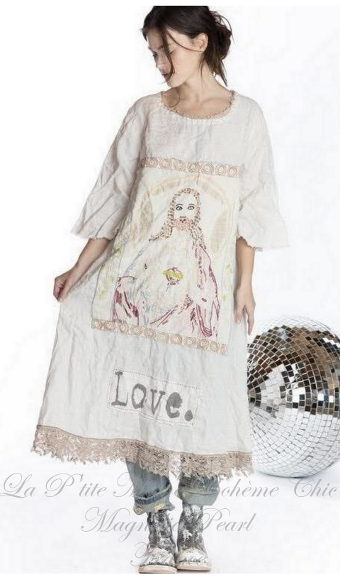 Junipero Jesus Dress Hand Embroidery & Love Applique Patch