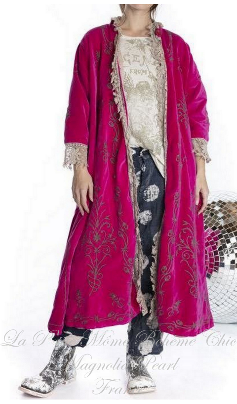 OLeary Coat Roza Embroidered Cotton Velvet And Lace
