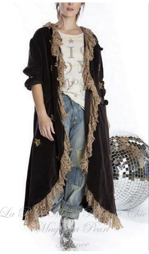 Emery Velvet Heart Applique Coat In Rooted With Lace