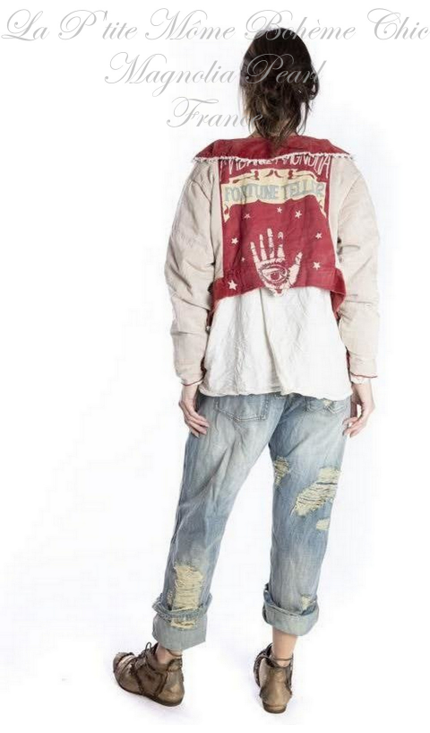 Oracle Cropped Jacket In Dorothy, Lace & Hand Print