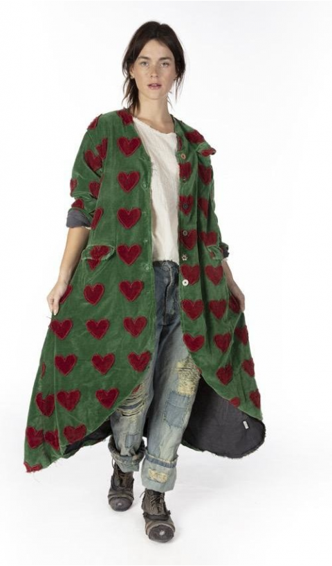 Emery Velvet Heart Applique Coat In Midori