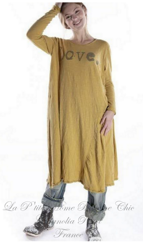 Love Dylan T Dress En Marigold Hand Block Print