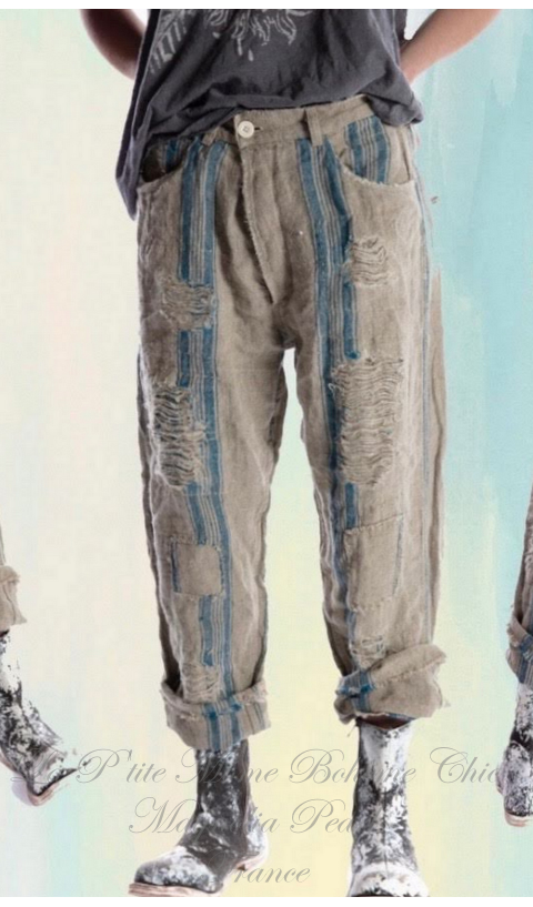 Miner Denim Jeans In Old-World-Ticking With Hand Aging and Patching
