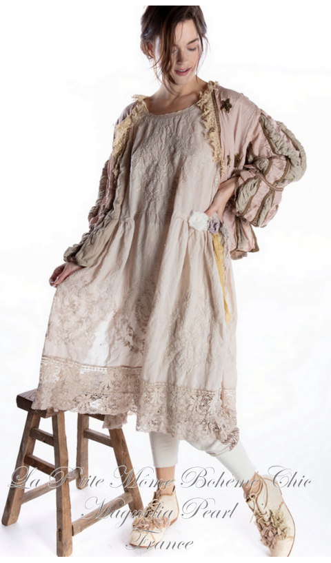Embroidered Serapina Apron-Dress With Lace In Moonlight
