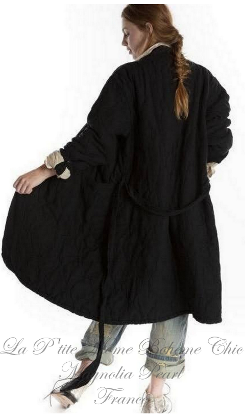 QUILTED ORO coat +hand distressing and belt tie - midnight