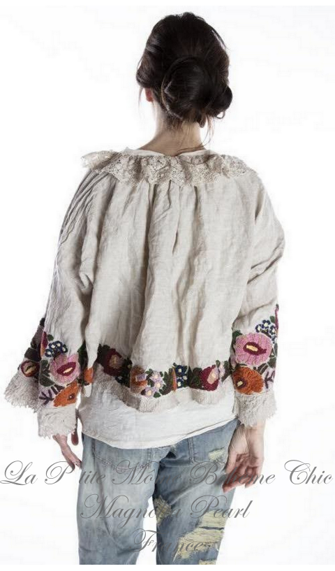 Ana Lucia Cropped Layering Blouse with Embroidery