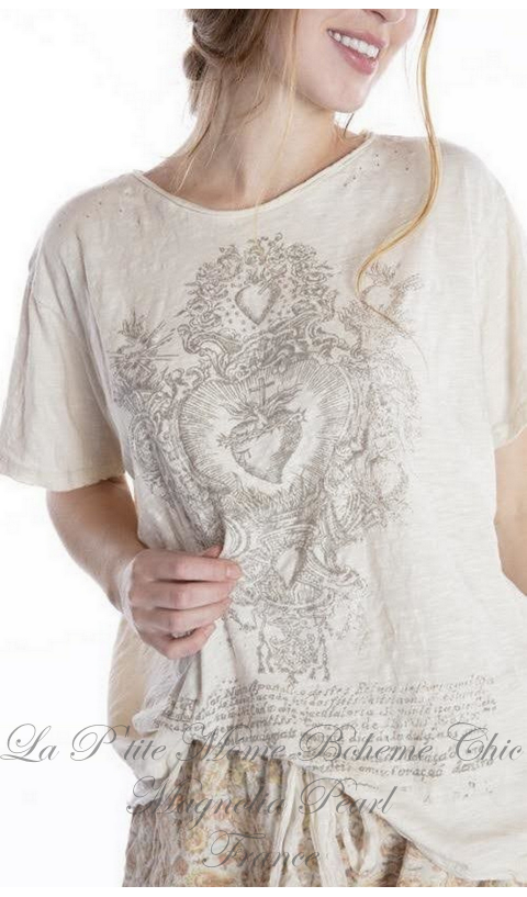 Transcendent Love Tee in Moonlight In Boyfriend Cut  Mending with Hand Distressing, and Patching