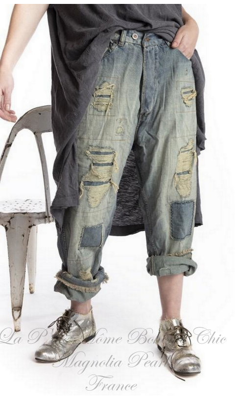 Miner Denim Jeans In Washed Indigo With Hand Aging and Patching