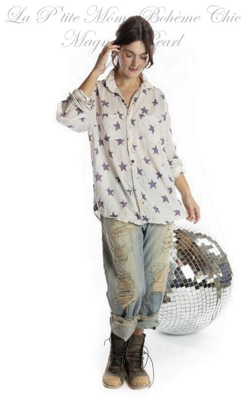 Boyfriend Shirt with Poplin Collar In Twinkle Little Star