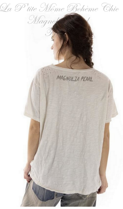 Fountain Of Mercy Tee in Moonlight In Boyfriend Cut  Mending with Hand Distressing, and Patching