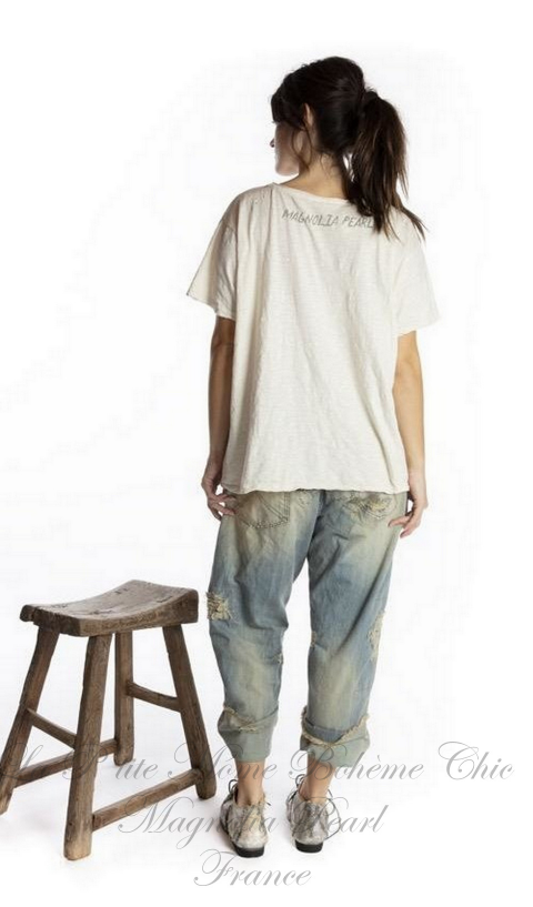 Faithful Heart Tee in Moonlight In Boyfriend Cut  Mending with Hand Distressing, and Patching
