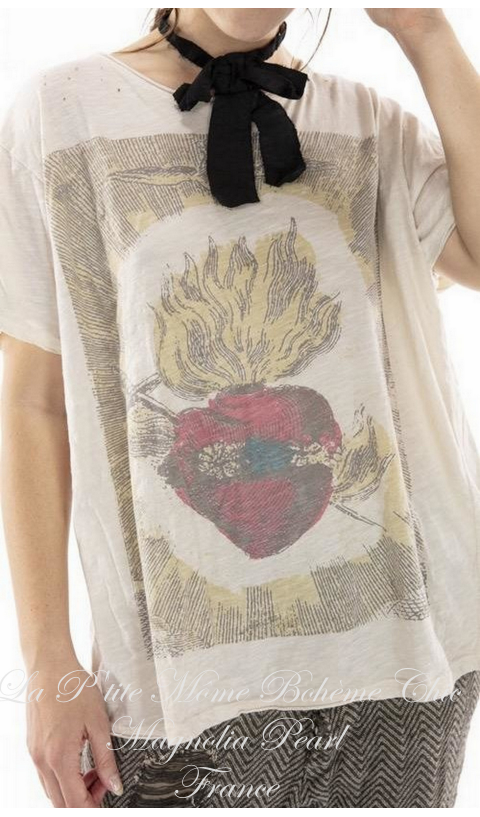 Eternal Love Tee in Moonlight In Boyfriend Cut  Mending with Hand Distressing, and Patching