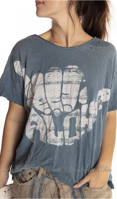 Hang Loose T-Shirt En Boro Imprimé Blockprint