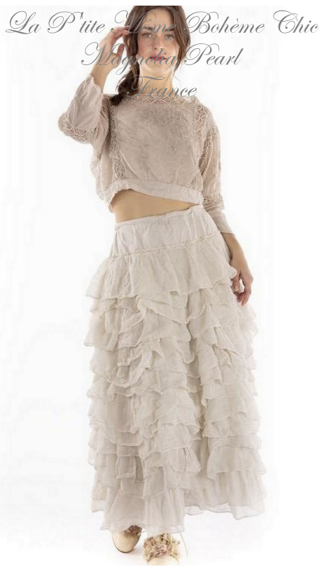 Ruffled Angelique Skirt with Drawstring Waist In Moonlight