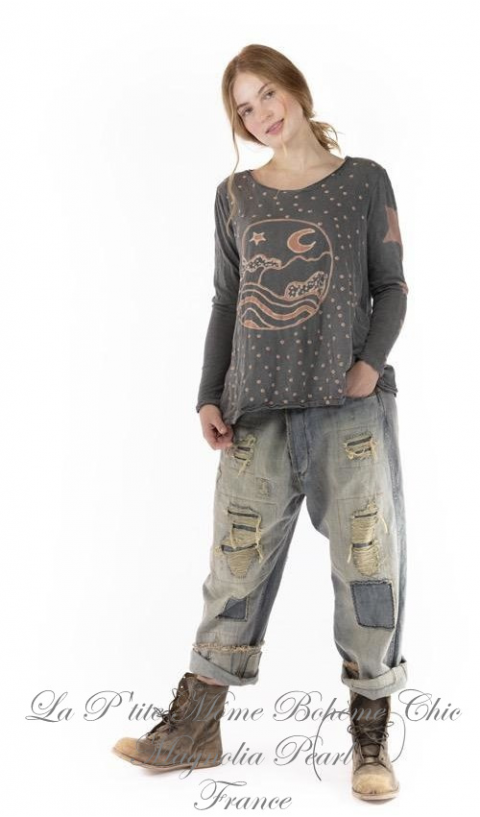 EBB AND TIDE Dylan T-Top In Ozzy Blockprinted