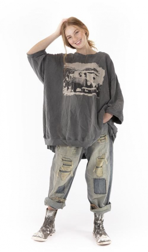 Baja Surf Francis Oversize Pull-Over In Ozzy In Hand BlockPrinted